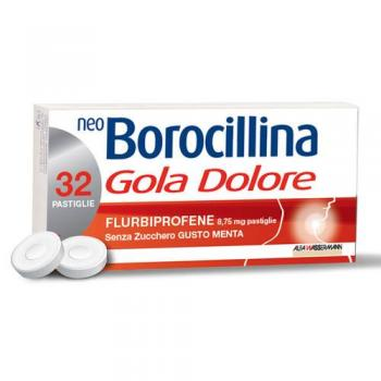 Neoborocillina Gola e Dolore 32 Pastiglie Menta Senza Zucchero